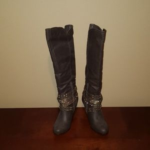 Not Rated Taupe Knee High Boots 10